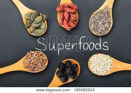 Superfoods: Pumpkin Seeds Flaxseeds Chia Seeds Goji Berries Quinoa And Aronia Berries