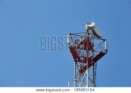 cellular antenna on the blue sky background