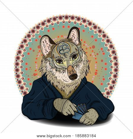 A game of cards. A wolf in mask and gown holding a card in his paw