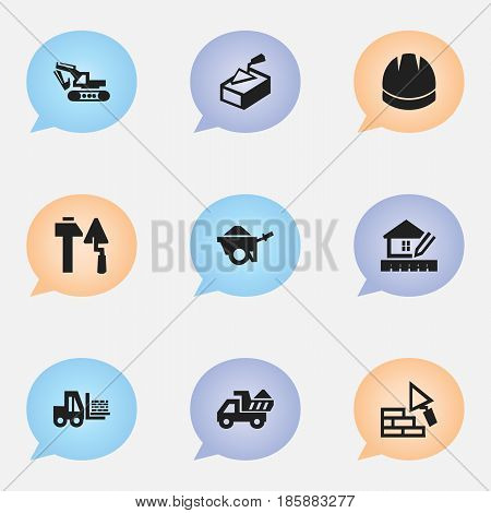 Set Of 9 Editable Building Icons. Includes Symbols Such As Home Scheduling, Excavation Machine, Trolley And More. Can Be Used For Web, Mobile, UI And Infographic Design.
