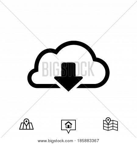 cloud download icon stock vector illustration flat design
