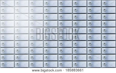 Safety deposit box wallpaper. Secure safety deposit boxes with lock and number plate. Blue metal. Insurance banking concept.