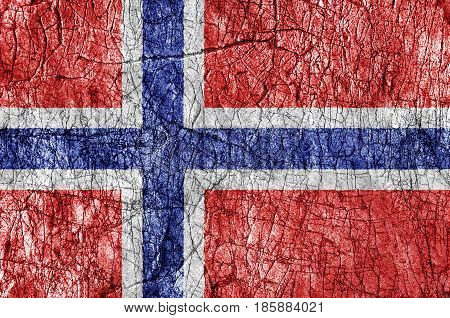 Grudge stone painted Norway flag close up