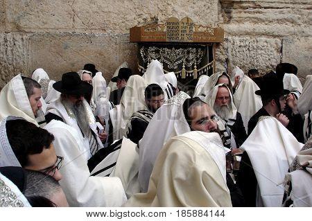 Orthodox Jewish Men Pray At The Western Wall  In Jerusalem Israel
