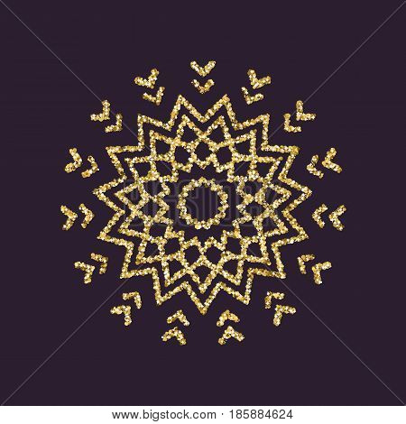 Snowflake icon. Christmas and new year, xmas, winter symbol. Gold sparkles and glitter. Flat design. Stock - vector