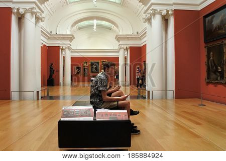 Visitors In Auckland Art Gallery New Zealand
