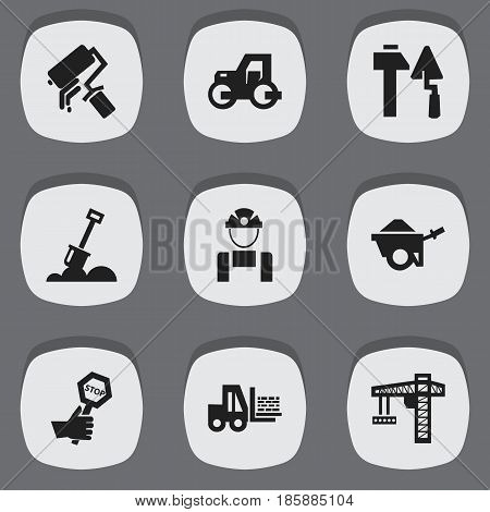 Set Of 9 Editable Structure Icons. Includes Symbols Such As Trolley, Endurance, Caterpillar And More. Can Be Used For Web, Mobile, UI And Infographic Design.