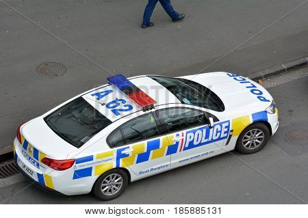 New Zealand Police Car And Officer On Crime Respond