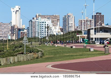 Beachfront Promenade Against Durban City Skyline Blue Sky