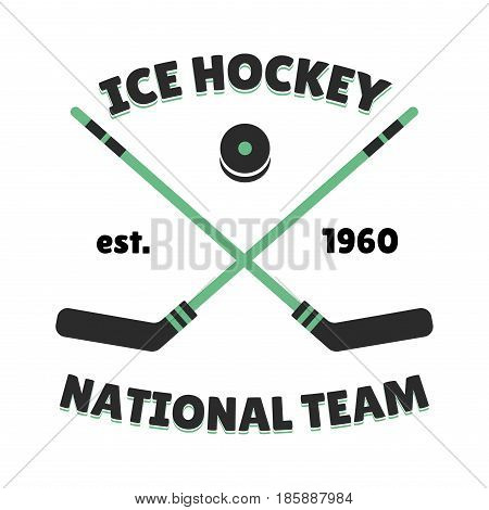 Hockey label vector template for sport team with ball and symbols competition graphic champion badge. Vector club game logo puck champion element.