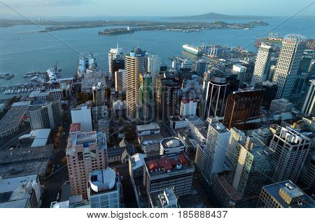 Aerial View Of Auckland City Central Business District With Waitemata Harbour At Sunset