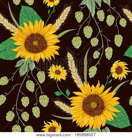 Seamless pattern with sunflowers, wheat and hops. Rustic floral background. Vintage vector botanical illustration in watercolor style.