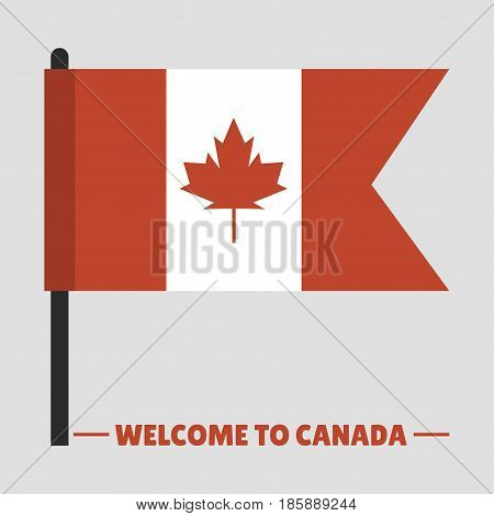 Canada country flag symbol maple leaf canadian freedom nation decoration vector illustration. Autumn nationality shape red white official national welcome banner