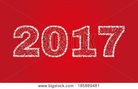 2017 Happy New Year on red background. Stock - Vector illustration