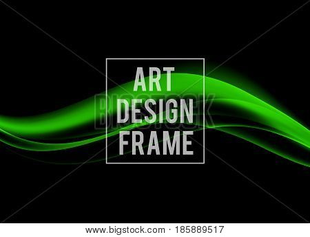 Abstract dynamic art design template with green soft wavy lines in soft style on dark background. Vector illustration