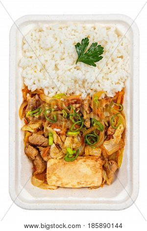 Rice With Chicken And Spicy Sauce.