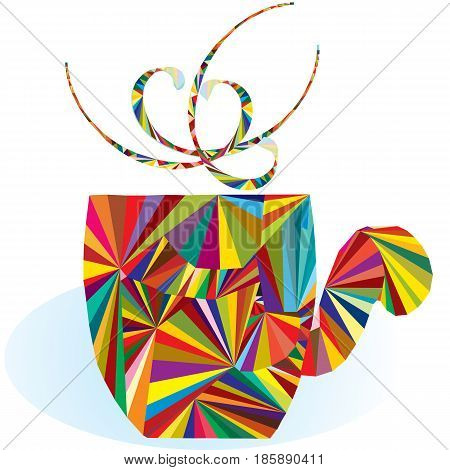 Colorful cup logo; colorful triangle shapes putted together in cup form