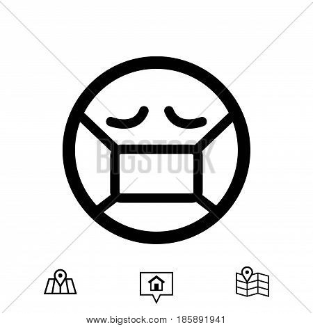 Emoticon with medical mask over mouth icon stock vector illustration flat design