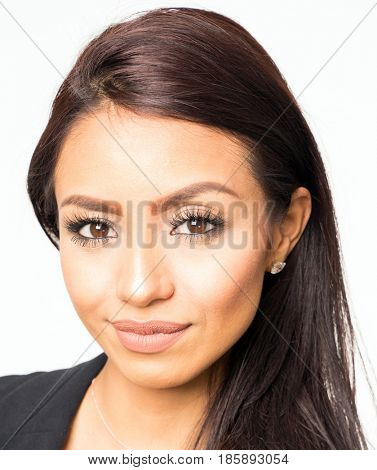 Head shot portrait of brunette woman face