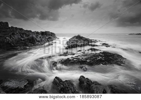 Seascape With Moody Weather And Swirling Ocean Flows