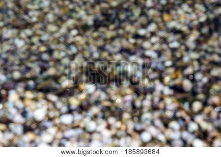 Bokeh of wet stones In close proximity
