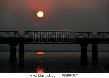 Sunset at the mighty Brahmaputra River Assam India