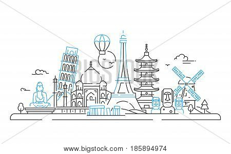 Countries - modern vector line travel illustration. India, Japan, France, Italy, Netherlands. Be on a safe and exciting journey. See great landmarks like Eiffel tower, tower of Pisa, buddha monument, torii, windmill, Taj mahal