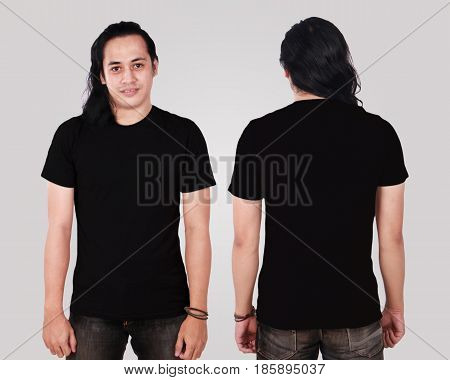 Photo image of an Asian Model smiling and showing blank black T-Shirt front and rear view shirt template