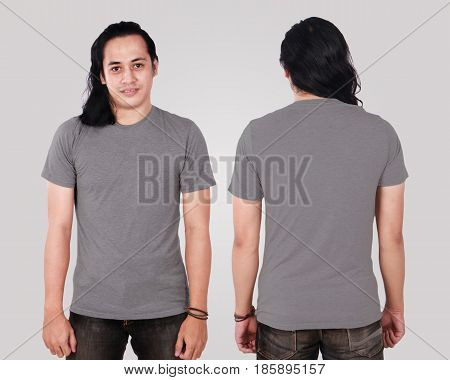 Photo image of an Asian Model smiling and showing blank grey T-Shirt front and rear view shirt template