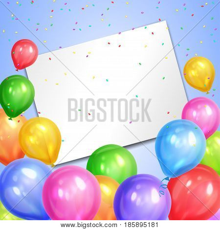 Border of realistic colorful helium balloons and white sheet. Party decoration frame for birthday anniversary celebration. Vector illustration