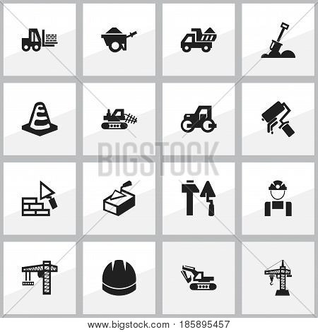 Set Of 16 Editable Building Icons. Includes Symbols Such As Lifting Equipment, Scrub, Hardhat And More. Can Be Used For Web, Mobile, UI And Infographic Design.