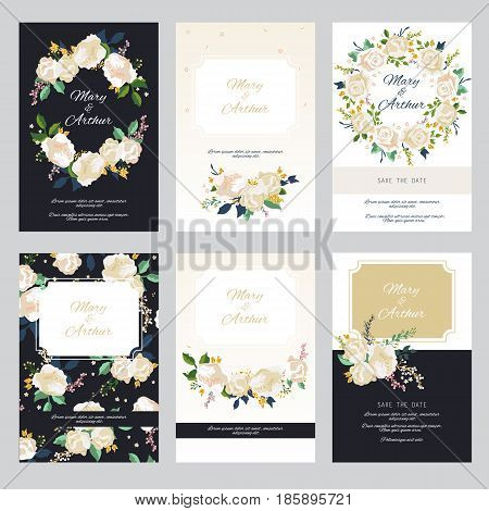 Vintage wedding invitation set design template with roses. Can be used for Save The Date mothers day valentines day birthday cards invitations.