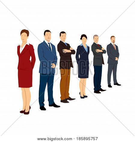 Corporate People in Office. Shape of Woman and Man. Vector Illustration.