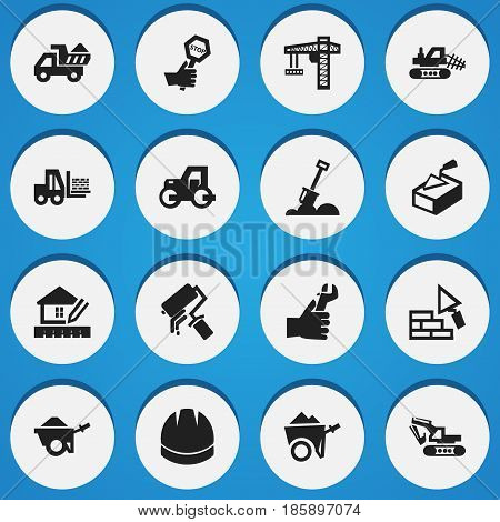 Set Of 16 Editable Building Icons. Includes Symbols Such As Oar, Spatula, Mule And More. Can Be Used For Web, Mobile, UI And Infographic Design.