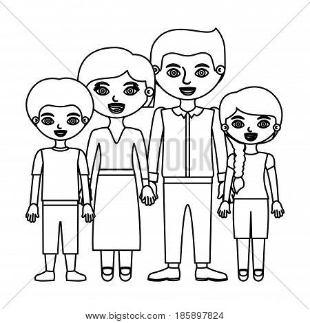 sketch silhouette family group with parents in formal suit and children in casual clothes vector illustration
