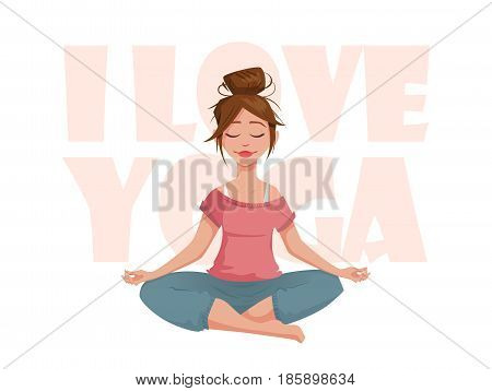 The girl in the lotus pose meditates. I love yoga. A girl character in a yoga pose.