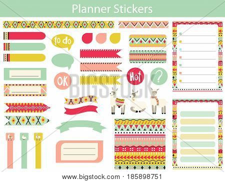 Collection of planner stickers with cute lama and the Aztec patterns In simple kids cartoon style. Weekly Planner pages.