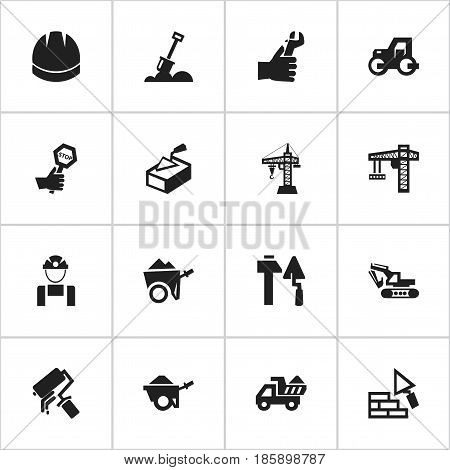 Set Of 16 Editable Structure Icons. Includes Symbols Such As Oar, Camion, Endurance And More. Can Be Used For Web, Mobile, UI And Infographic Design.
