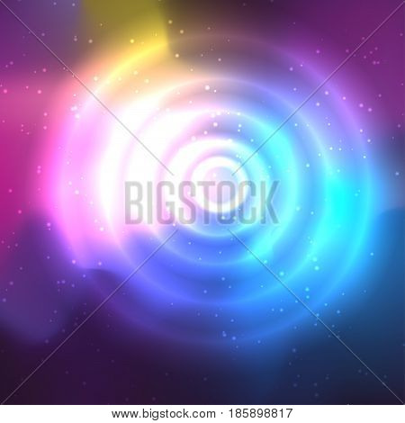 Abstract space background and circle with flares in the center