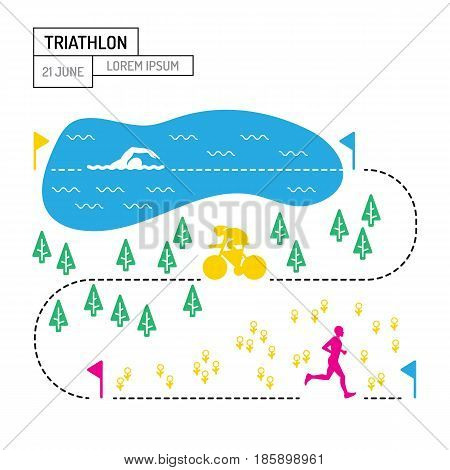 The infographic map of the route of the triathlon with a picture of the route lengths for each sport, a Poster on the topic of triathlon is drawn in flat style isolated on white background.