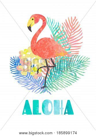 Beautiful vector tropical jungle floral illustration with pink flamingo palm leaves and word