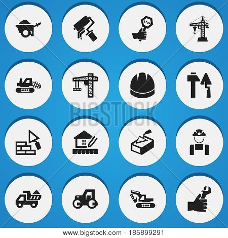 Set Of 16 Editable Structure Icons. Includes Symbols Such As Caterpillar, Construction Tools, Spatula And More. Can Be Used For Web, Mobile, UI And Infographic Design.
