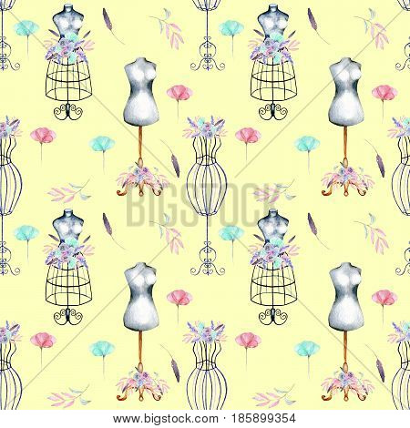 Seamless pattern with watercolor retro mannequins and pink and mint flowers, hand drawn isolated on a yellow background