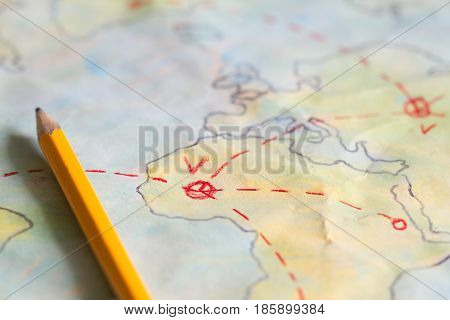 Travel plan on map background concept closeup
