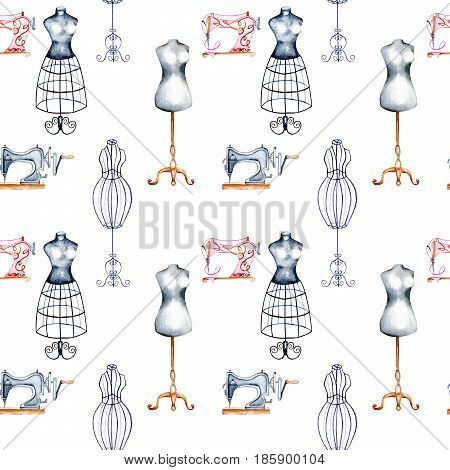 Seamless pattern with watercolor retro mannequins and sewing machines, hand drawn isolated on a white background
