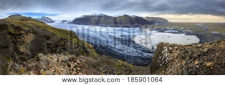 Panoramic view of Fjallsarlon glacier and lagoon in the south of Iceland