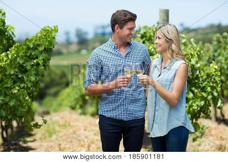 Happy young couple looking at each other while toasting wineglasses at vineyard