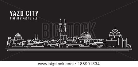 Cityscape Building Line art Vector Illustration design - Yazd city