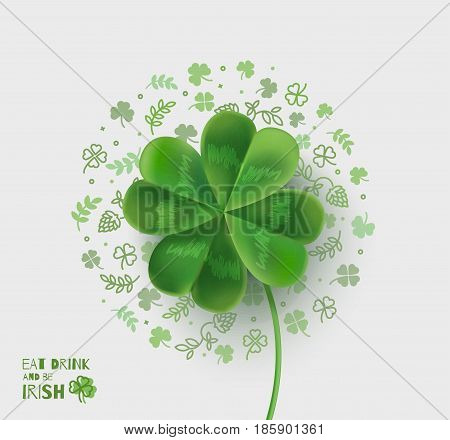 Illustration with four-leaf clover for St. Patrick's Day. Vector illustration with 3D effect.