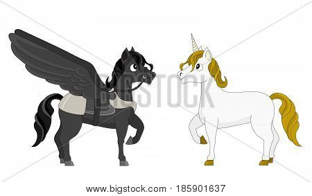 Illustration of two mythical horses a black pegasus with wings and white unicorn with a horn isolated on a white background